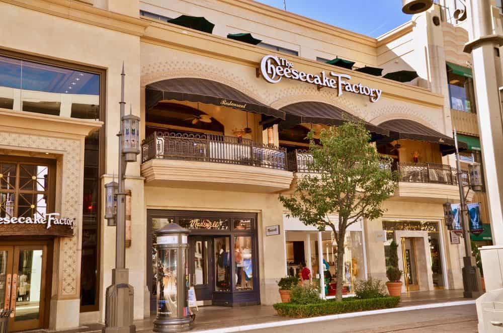 Cheesecake Factory restaurant in the Grove shopping centre in Los Angleles