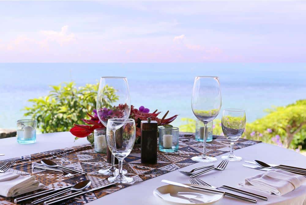 Table set on the deck of a restaurant