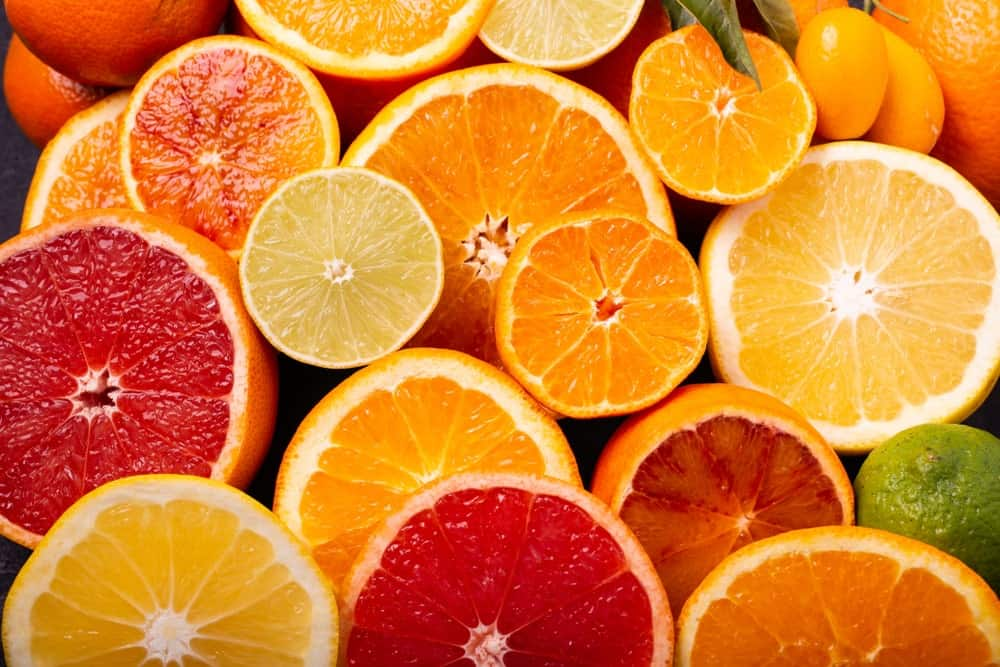 Various slices of citrus fruits.