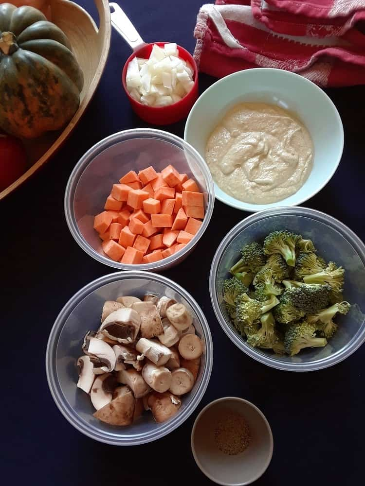 The ingredients for the stuffing.
