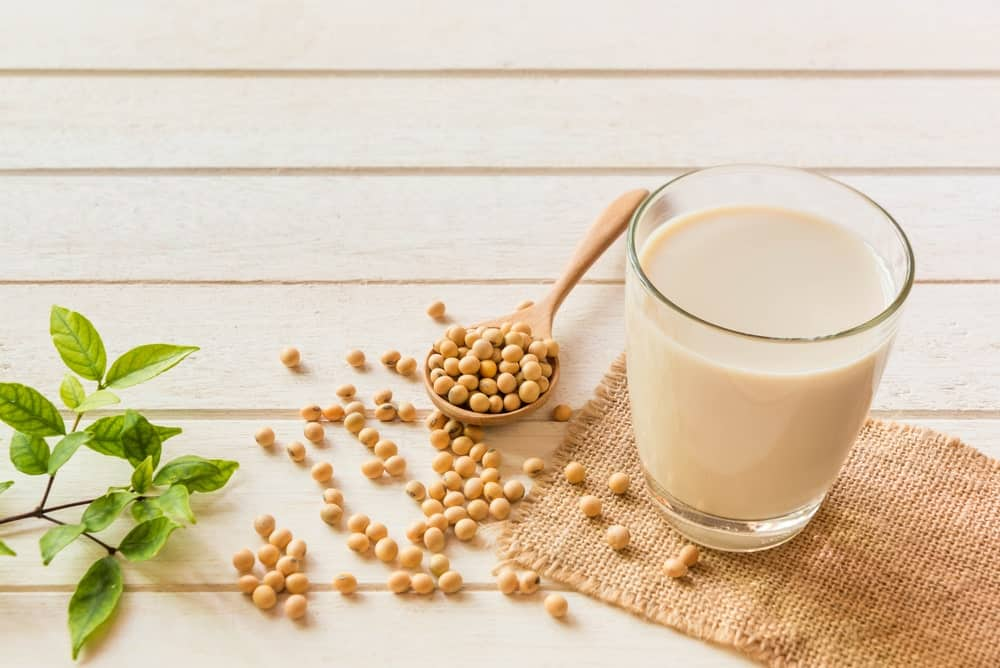 A glass of soy milk.