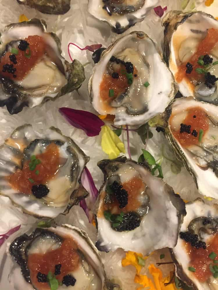 Japanese Kumamoto oysters served with caviar.